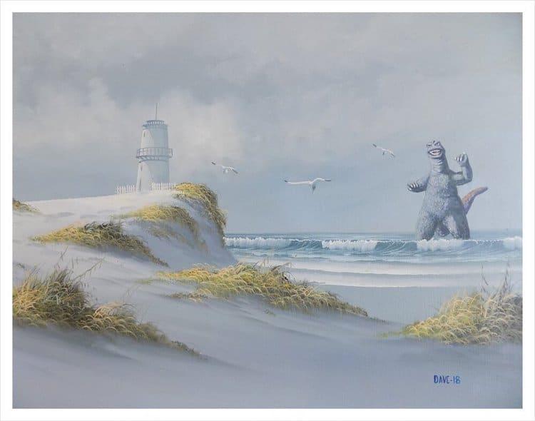 Peinture transformée par Arrowhead Vintage & Goods, avec Godzilla à la plage