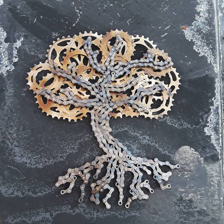 Tree Sculpture Made From Bike Chains by Drew Evans