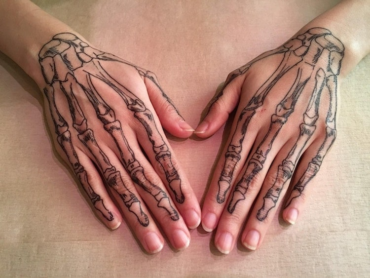Temporary Bone Hand Tattoos