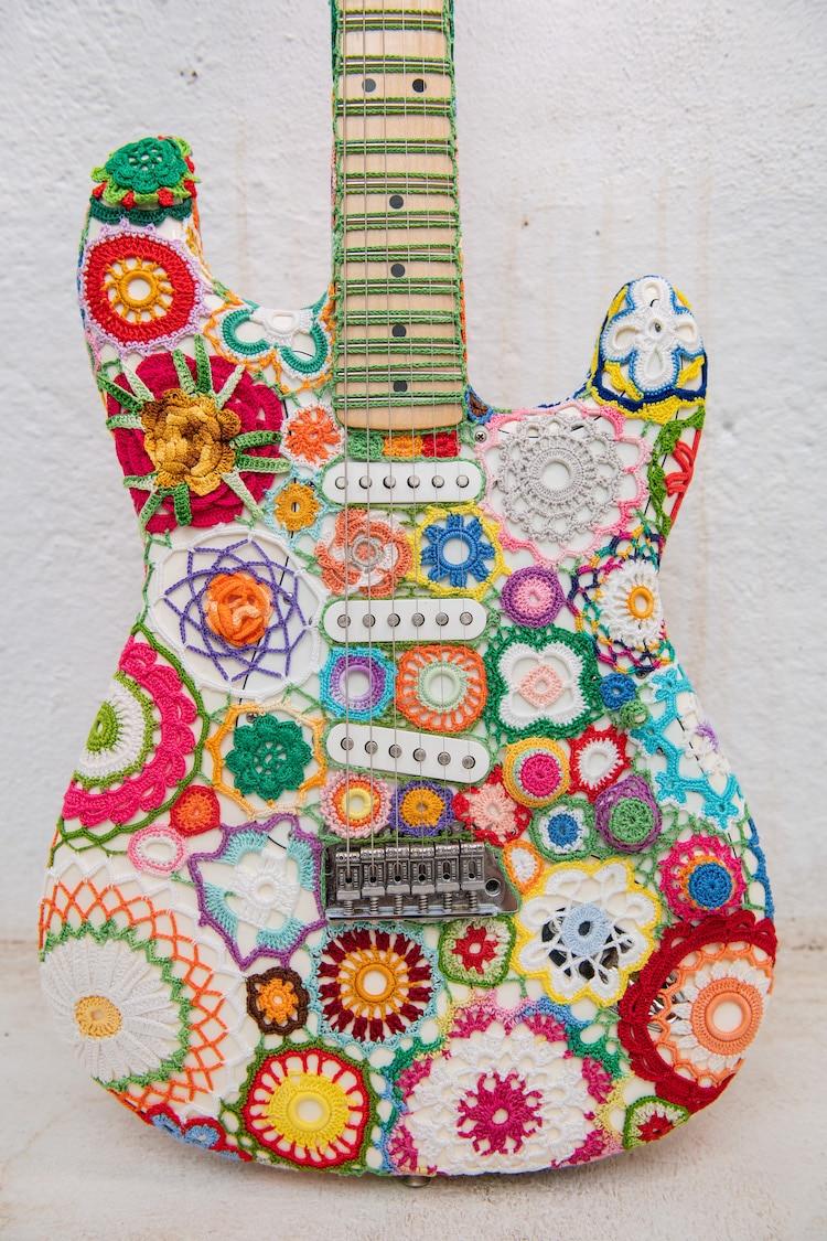 Crochet Flower Power Guitar by Joana Vasconcelos