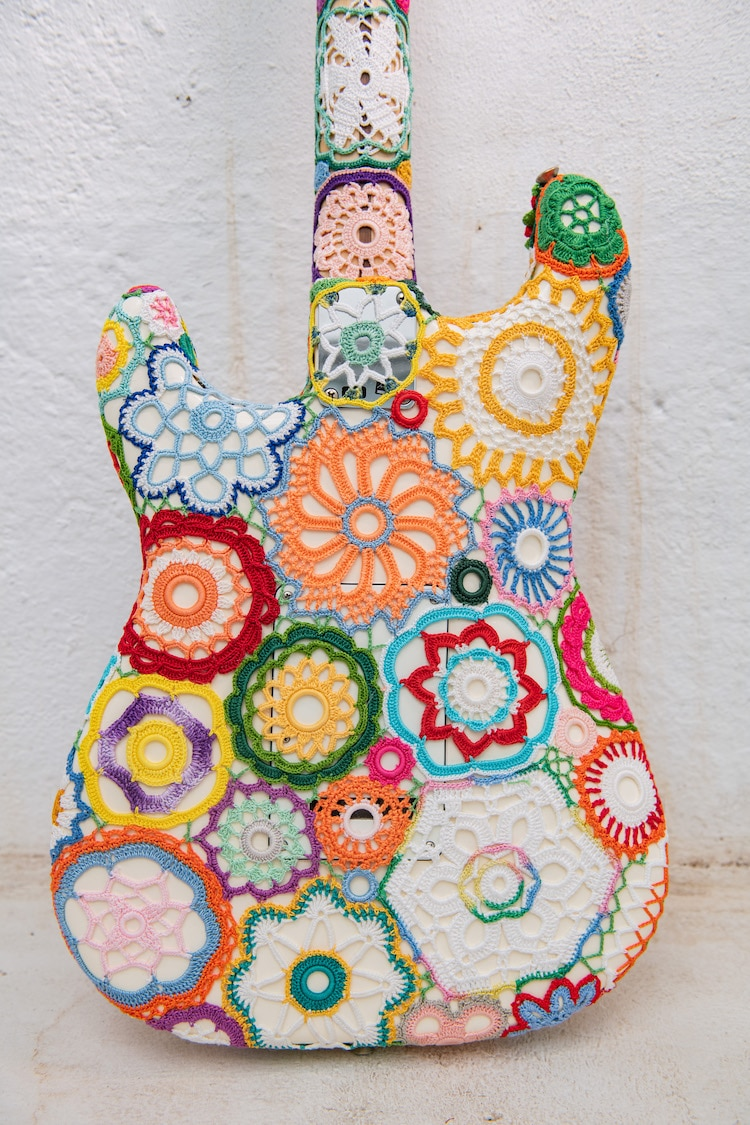 Crochet Flower Power Guitar by Joana Vasconcelos