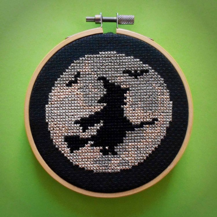 Witch and Moon Silhouette Cross Stitch Kit