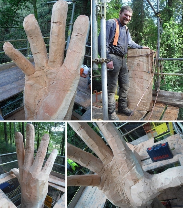 Chainsaw Carving Artist Simon O'Rourke With Hand Sculpture
