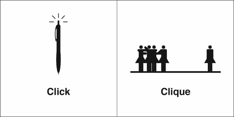 Click and Clique Homophones by Bruce Worden