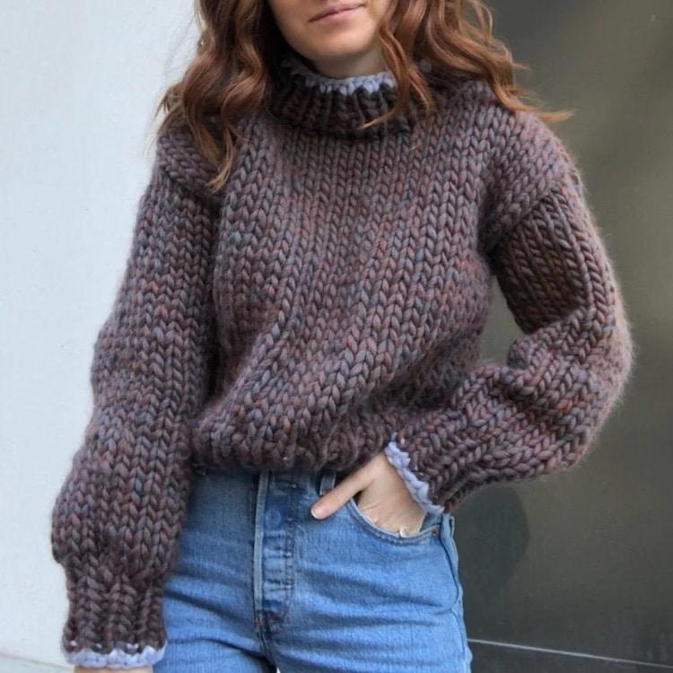Mock Neck Knitting Sweater Pattern