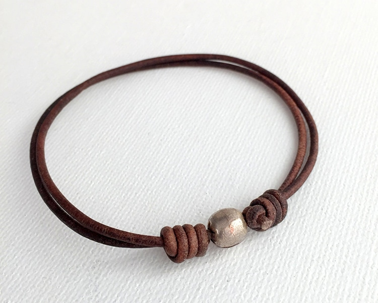 Leather Silver Anklet