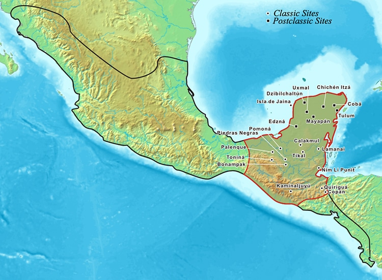 Map of Mayan Empire and Cities
