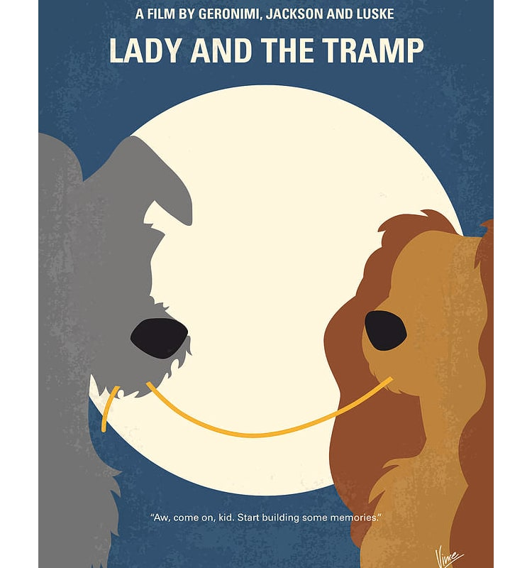 Lady and the Tramp Minimalist Movie Poster by Chungkong