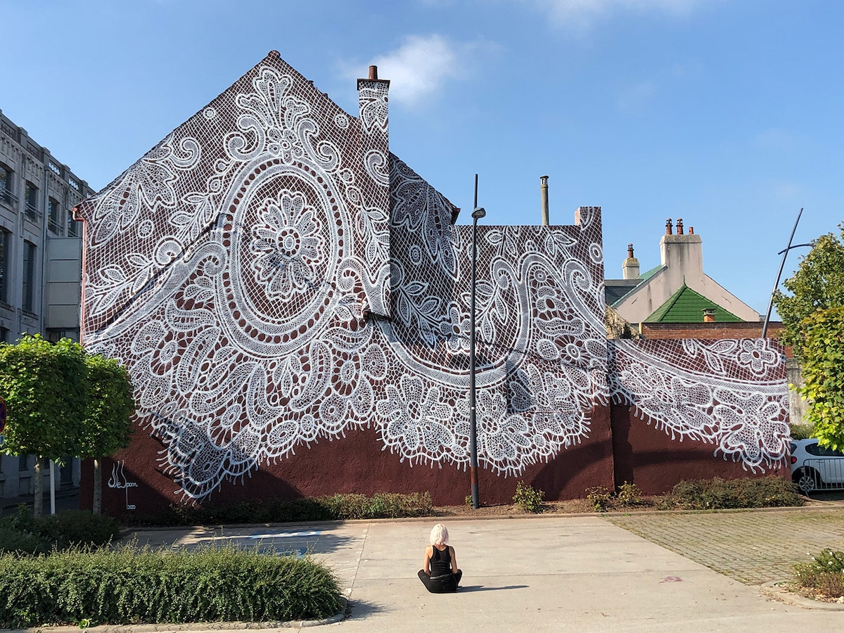NeSpoon Mural on Lace Museum in Calais
