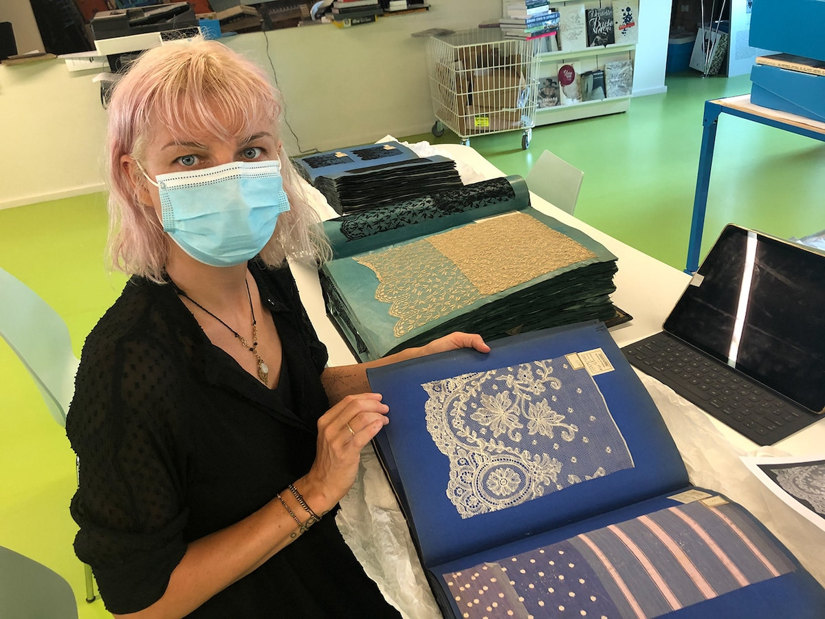 NeSpoon Researching Historic Lace for Mural in Calais