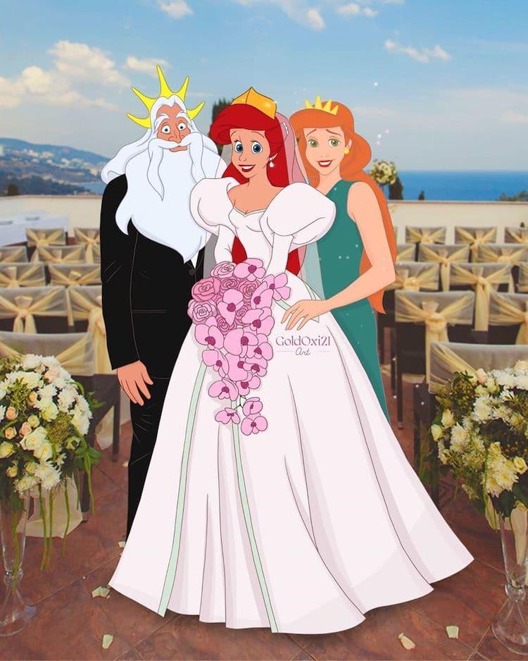 princesas disney con sus padres
