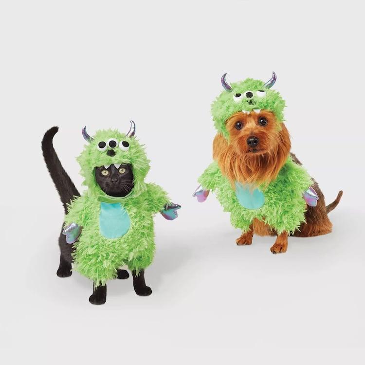 Disfraz de Halloween de monstruo verde para mascotas