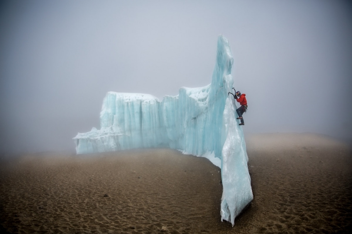 Professional ice climber Will Gadd Climbing on Glacial Ice on Mount Kilimanjaro