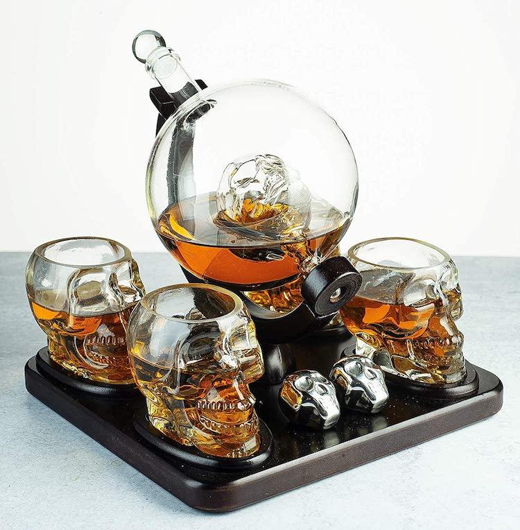 Skull Decanter and Shot Glasses