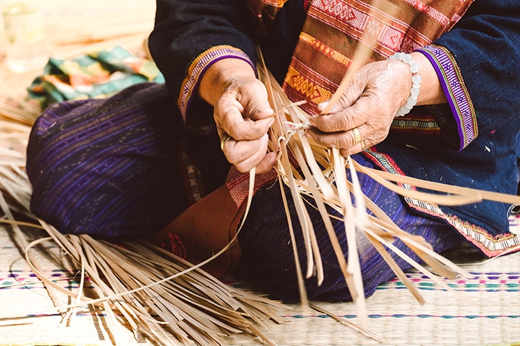 Thai Woman Bamboo Basket Weaving