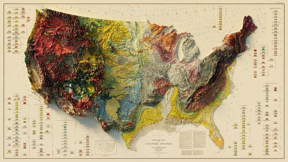 Sean Conway Vintage Relief Maps Prints