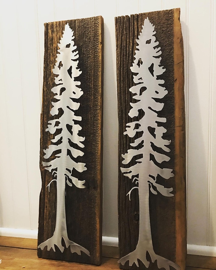 Wooden Pine Tree Sign