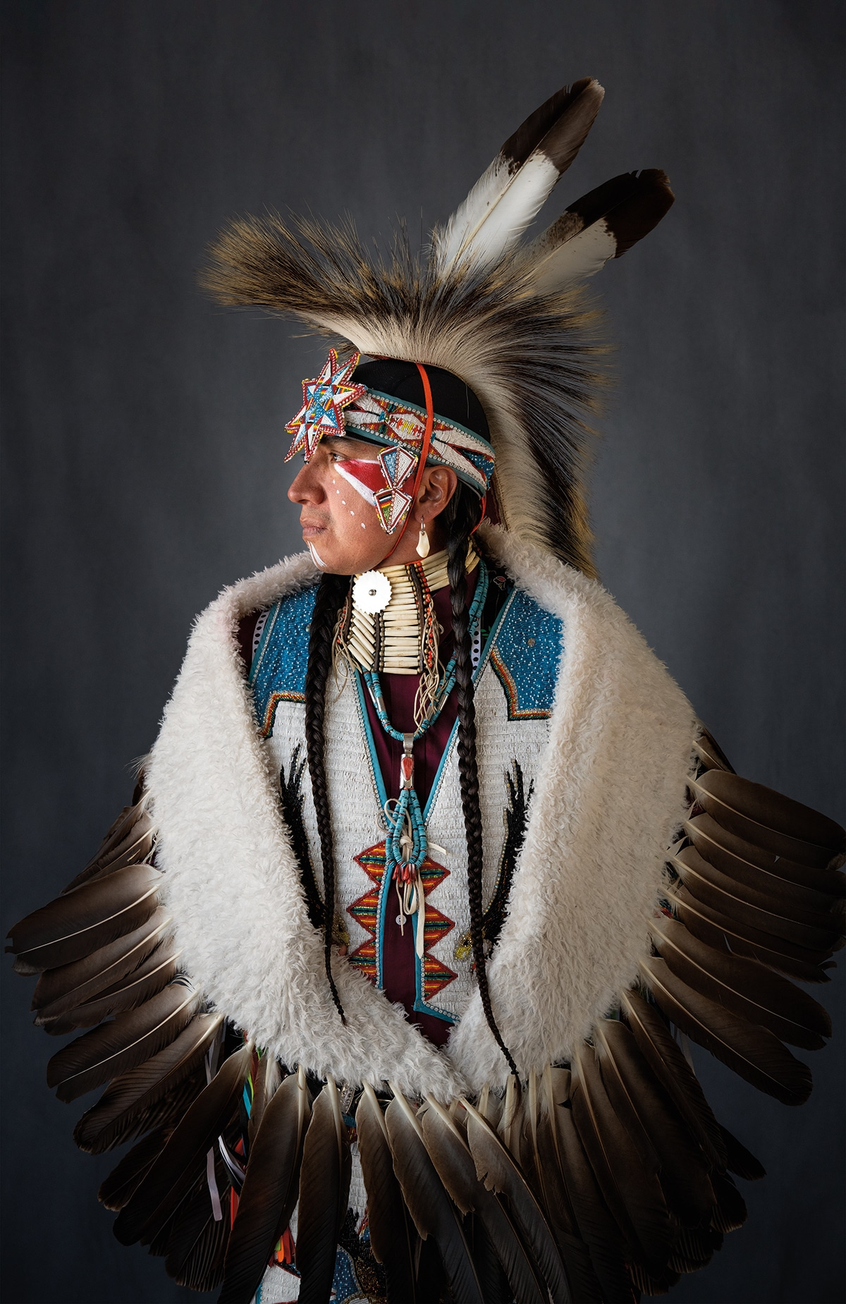 Native American Man Photographed in Traditional Dress