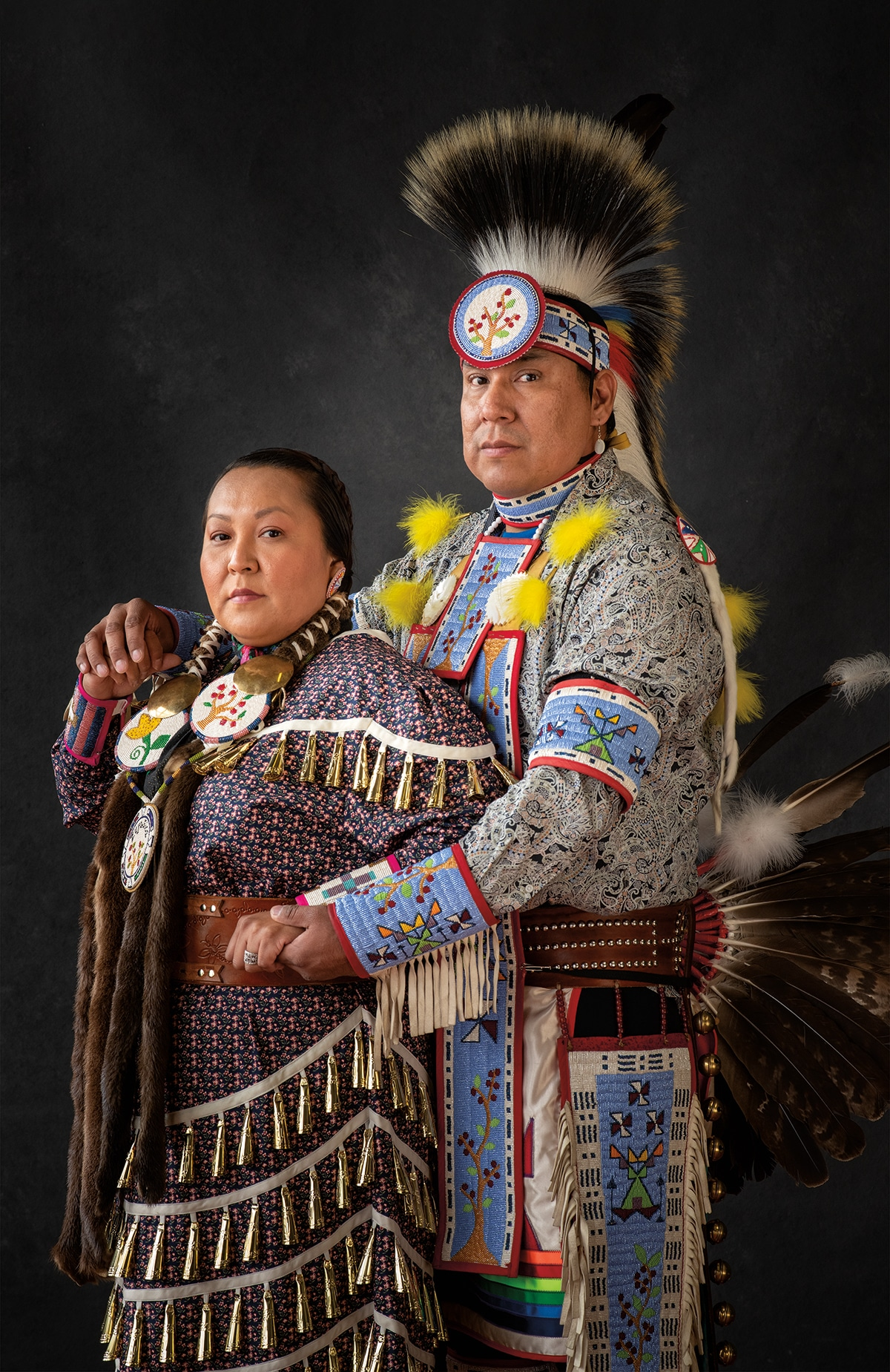 Portrait of Native American Couple in Traditional Dress