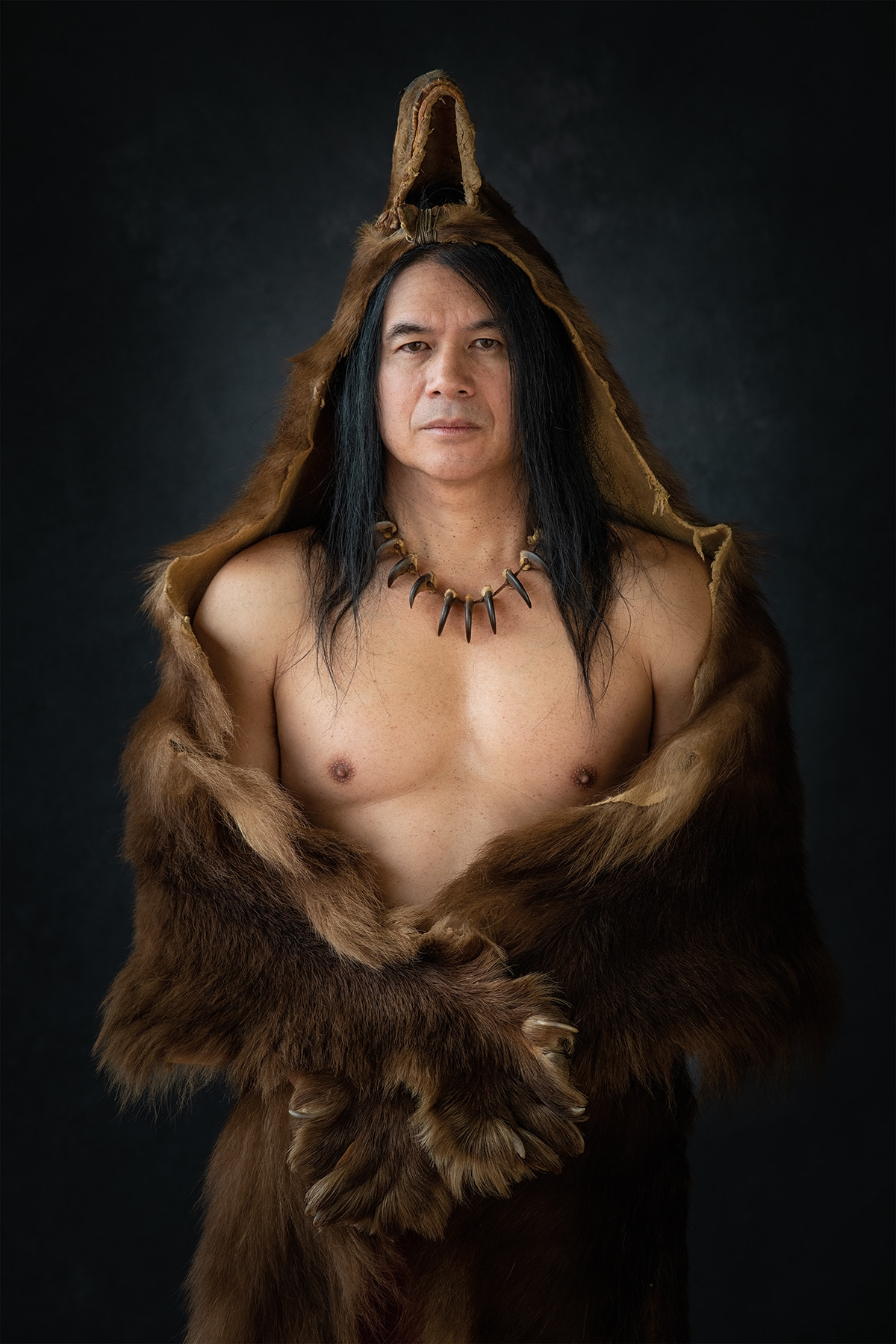 Native American Man in Animal Pelts
