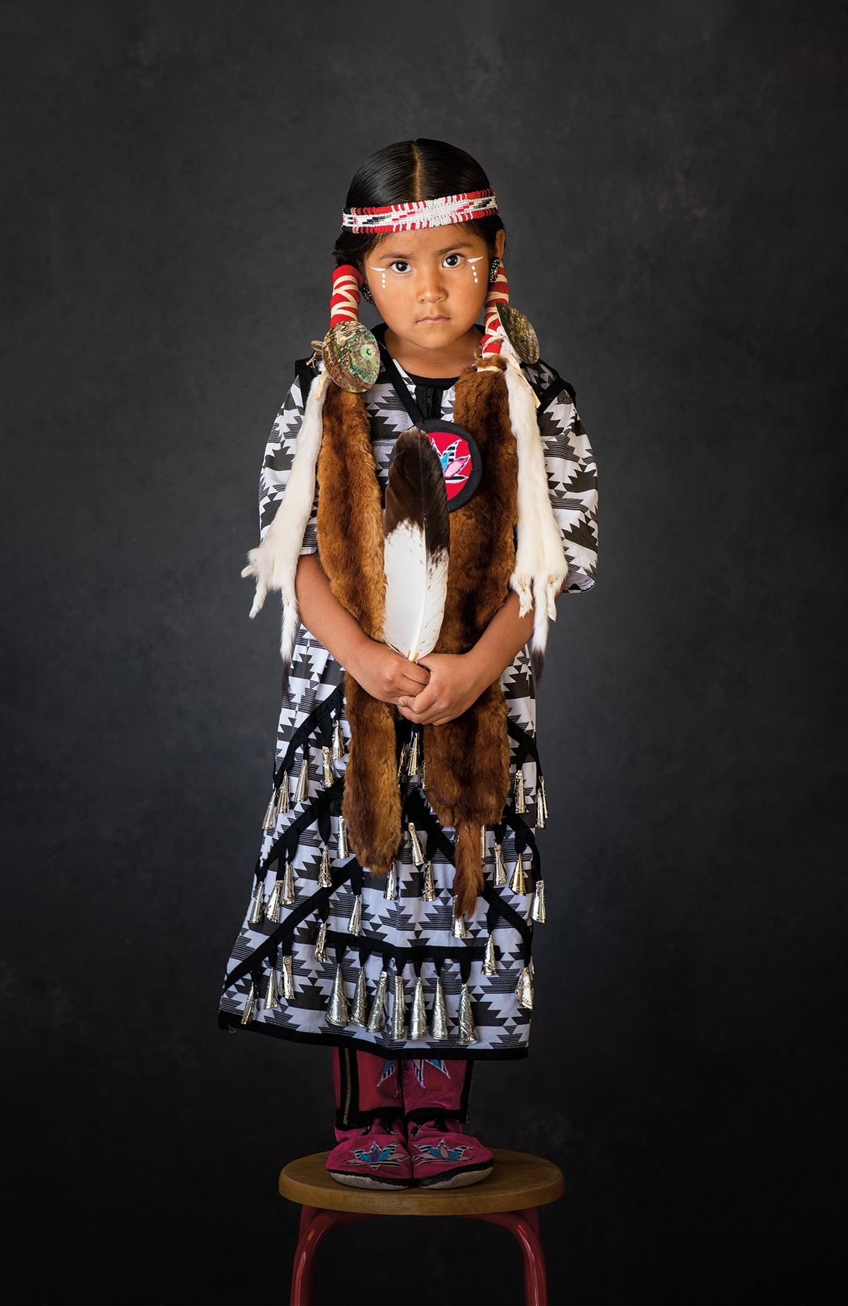 Portrait of Native American Girl by Craig Varjabedian