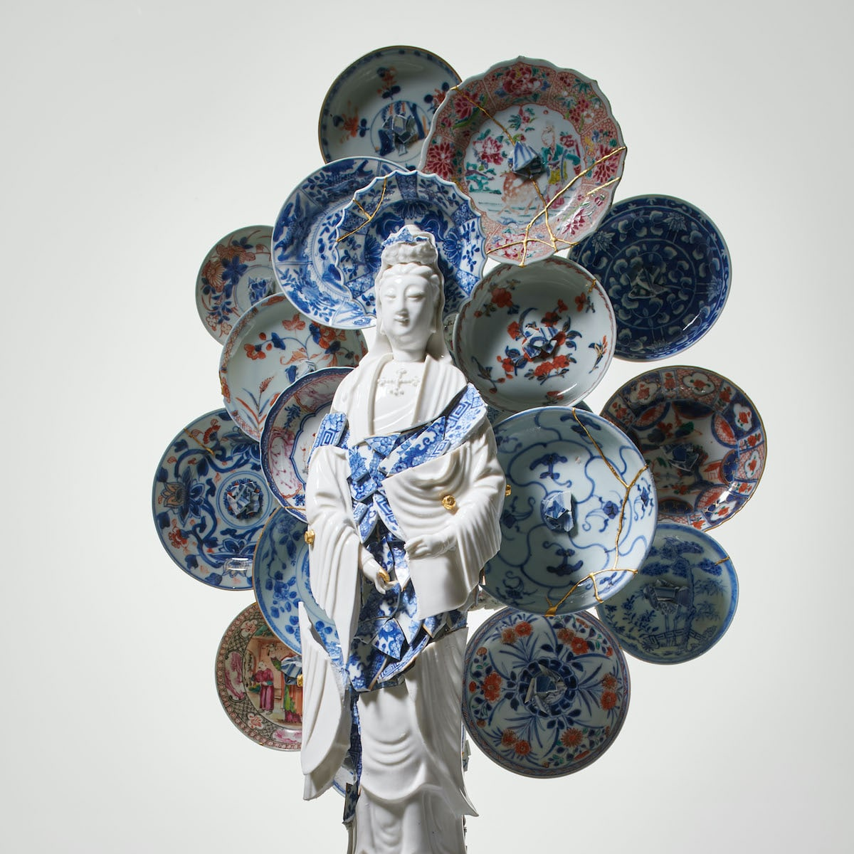 Bouke de Vries Guan Yin With a Nimbus of Saucers Porcelain Fragmented Sculpture