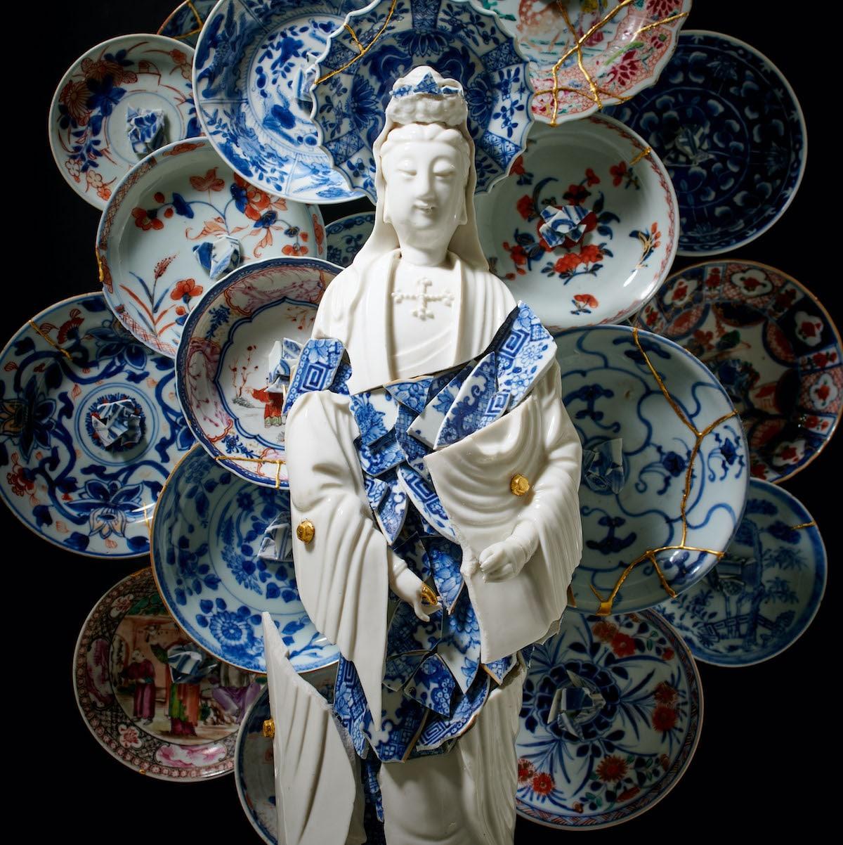 Bouke de Vries Guan Yin With a Nimbus of Saucers Porcelain Fragmented Sculpture