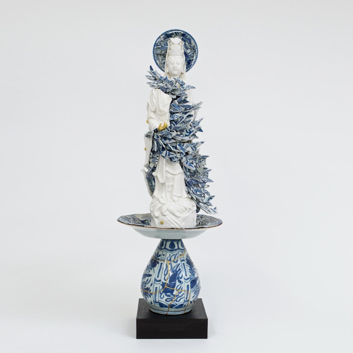 Bouke de Vries Guan Yin in a Cloud of Shards Ceramic Fragmented Sculpture
