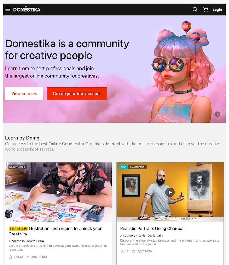 Domestika Online Classes for Creatives Homepage
