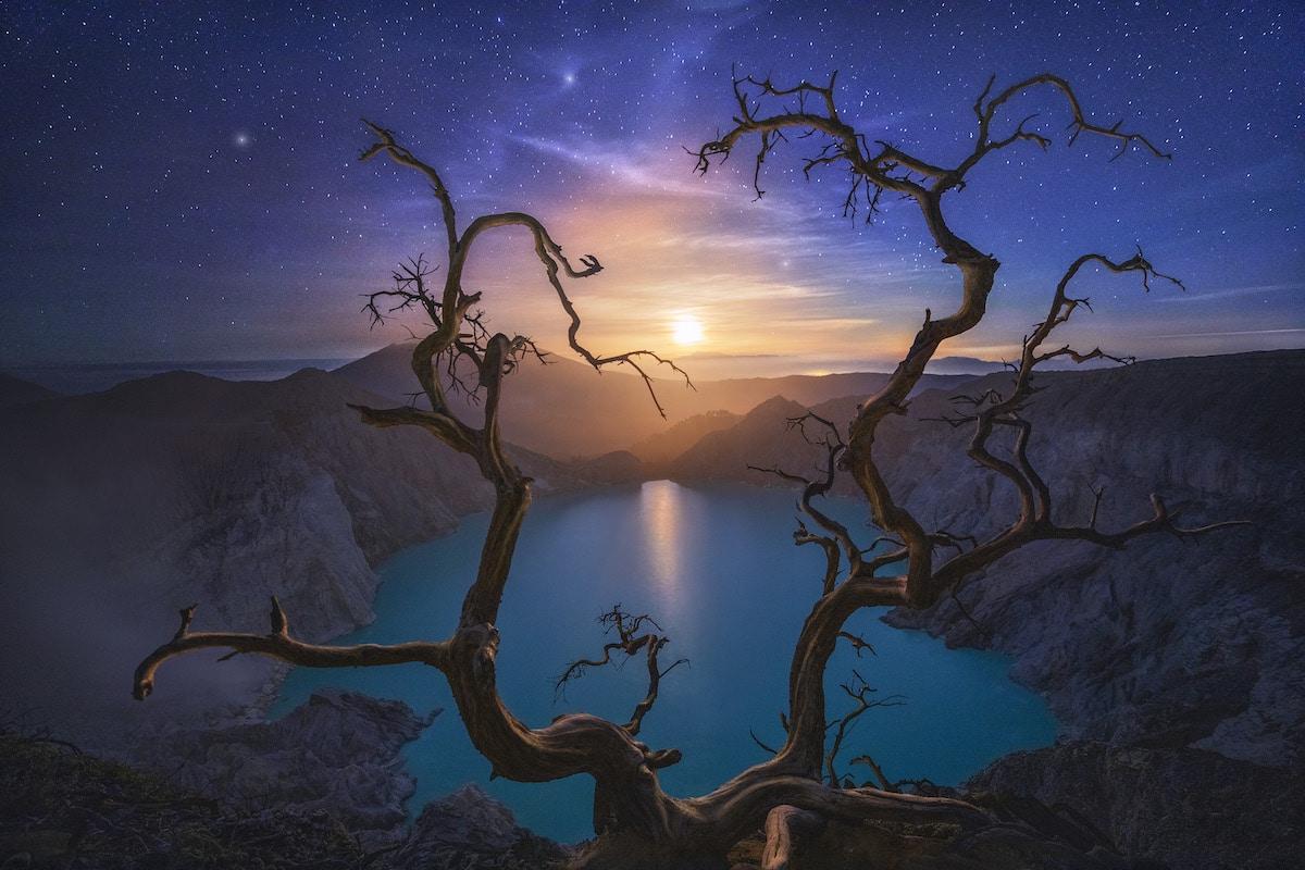 Moon Over Ijen Volcano in Indonesia