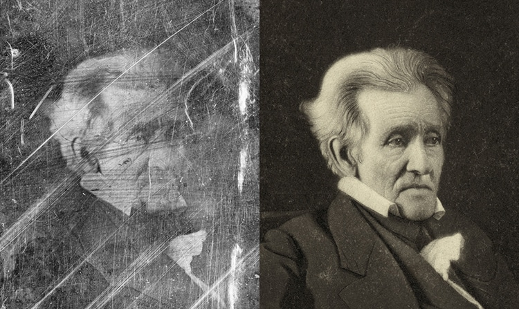 Andrew Jackson Etching Restored Photograph