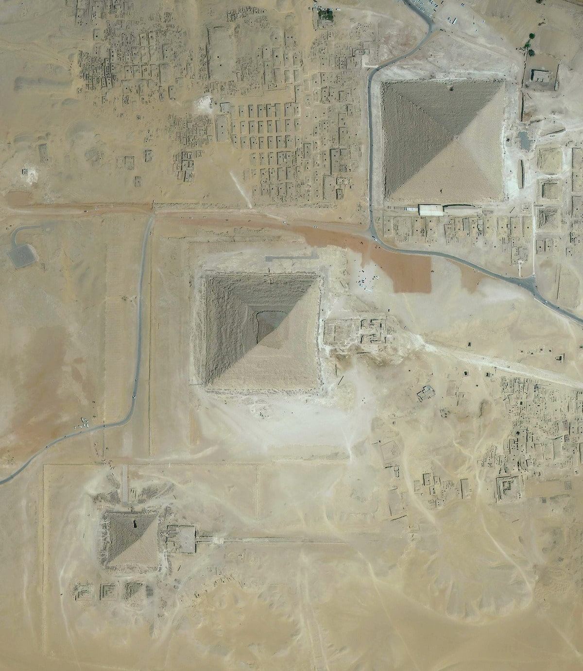 Overhead View of the Great Pyramids of Giza