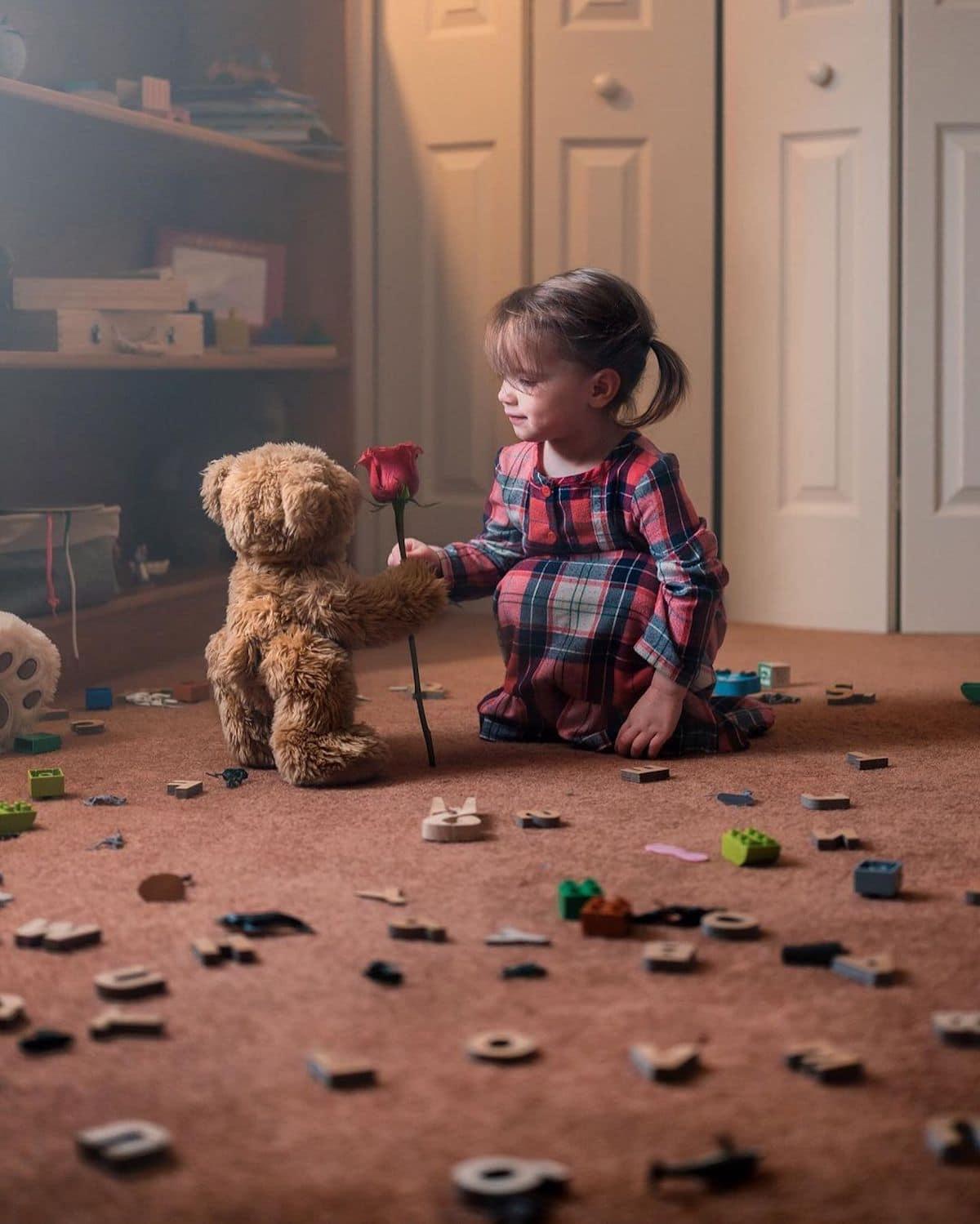 Girl Talking to Stuffed Animals