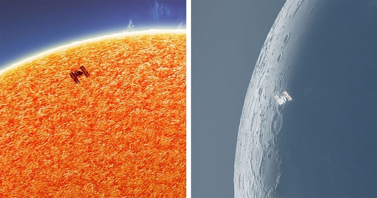 Astrophotographer Captures Incredible Photos of ISS Transiting the Sun and Moon
