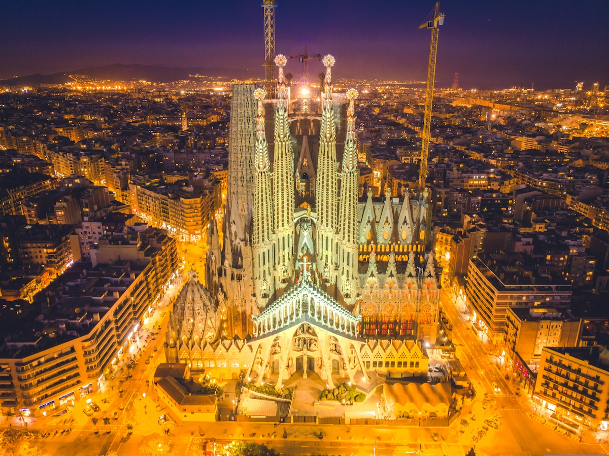Aerial View of La Sagrada Familia