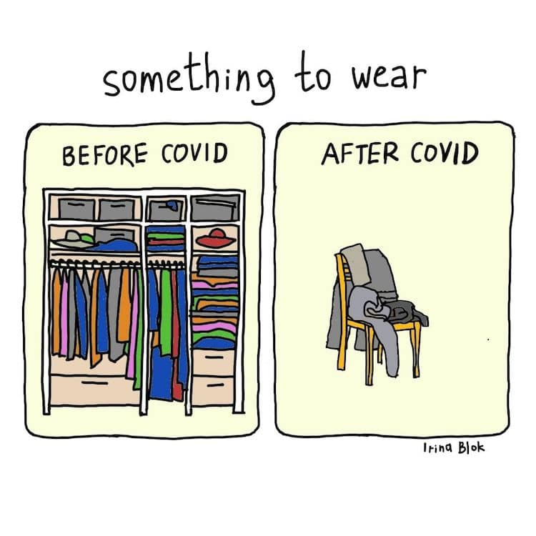 Before and After COVID Illustrations by Irina Blok
