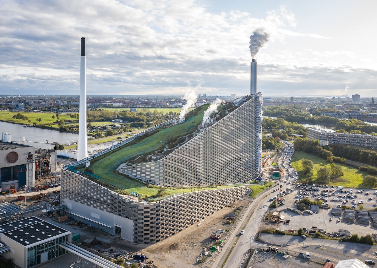 Aerial of Copenhill - Bjarke Ingel Group's Copenhill Is a Power Plant With a Ski Slope on Top