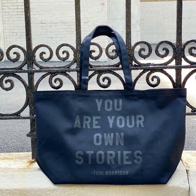 Black Tote Bag with Toni Morrison Quote