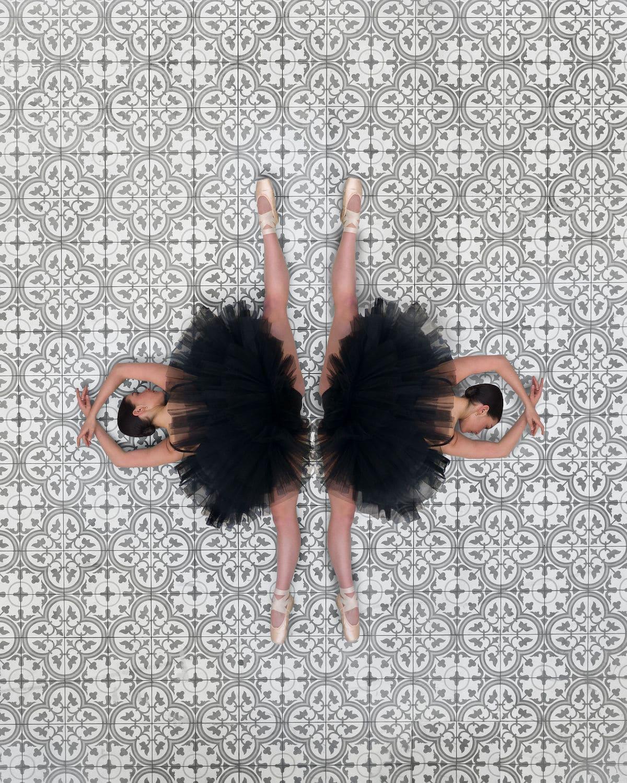 Symmetrical Overhead Photo of a Ballerina