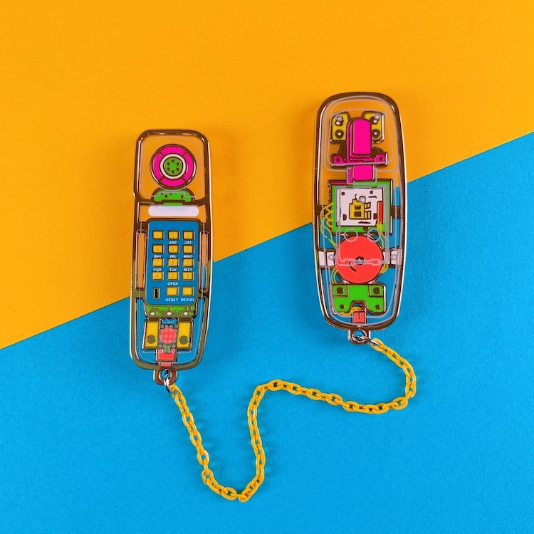 Clear 90s Phone Enamel Pin
