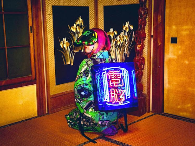 mochila Cyberpunk con luces de neon