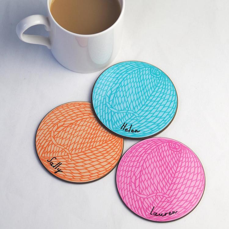 Personalized Yarn Ball Coasters