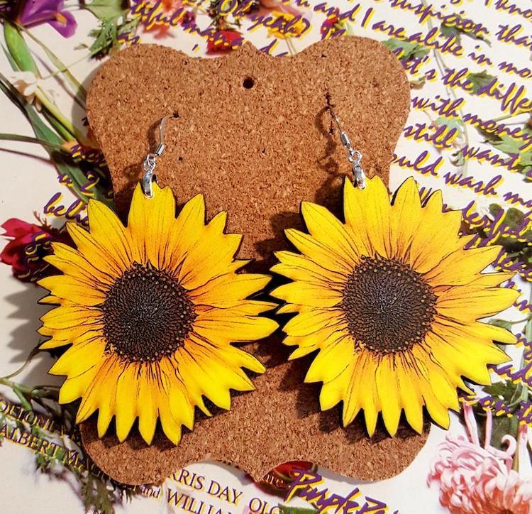 Wooden Sunflower Earrings on Etsy