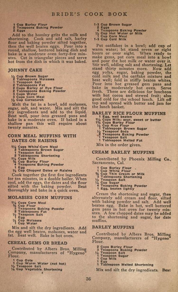 Bride's Cookbook Historic Cookbook and Recipes
