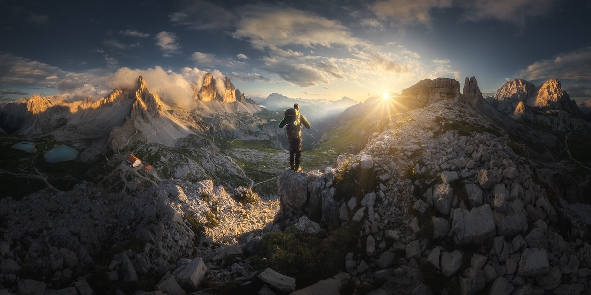 Panorama of a Hiker on a Mountain