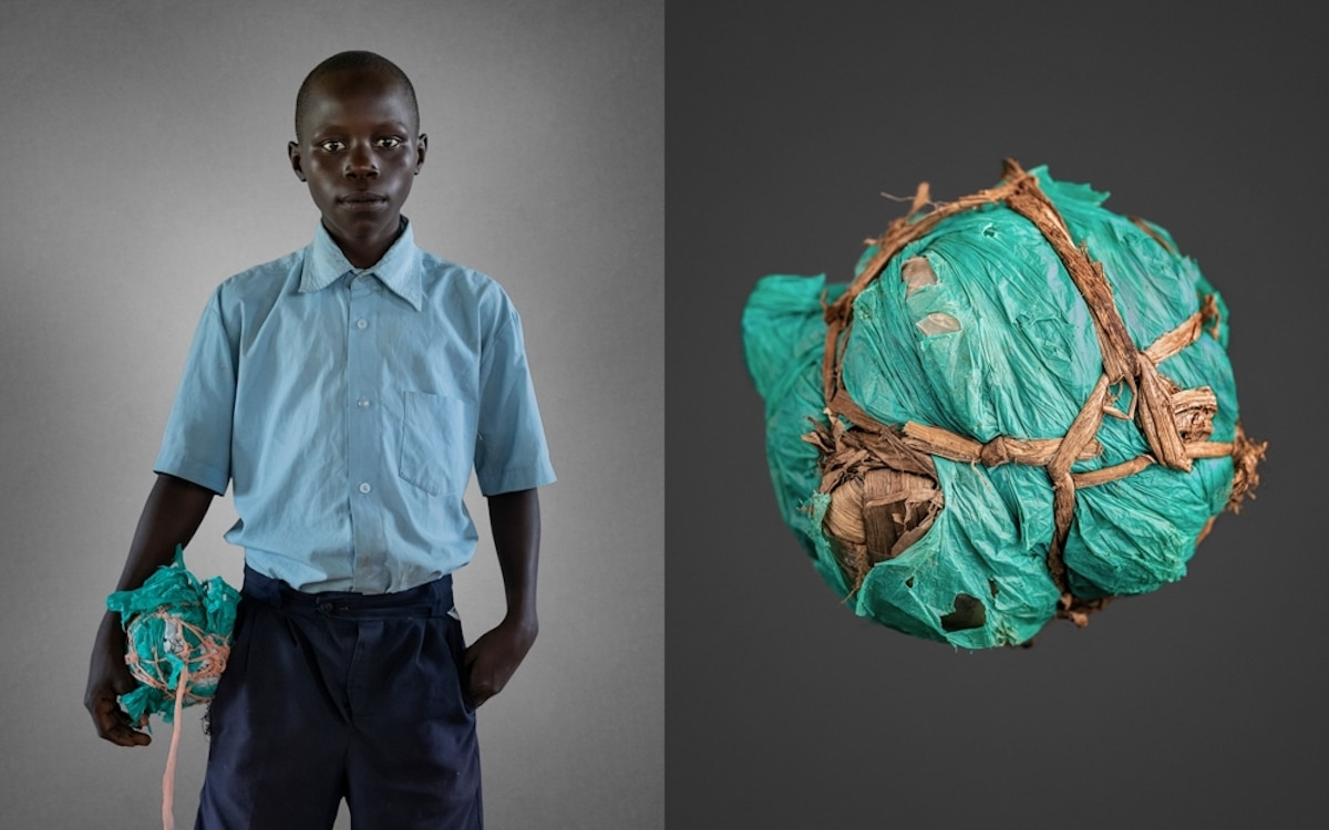 Young Boy with a Handmade Soccer Ball