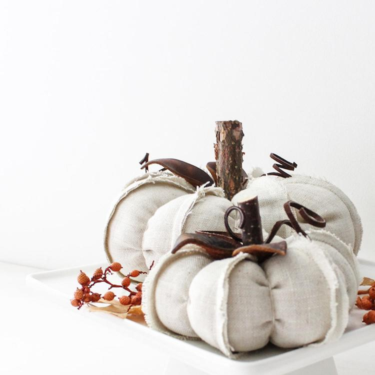 Linen Pumpkin Centerpiece