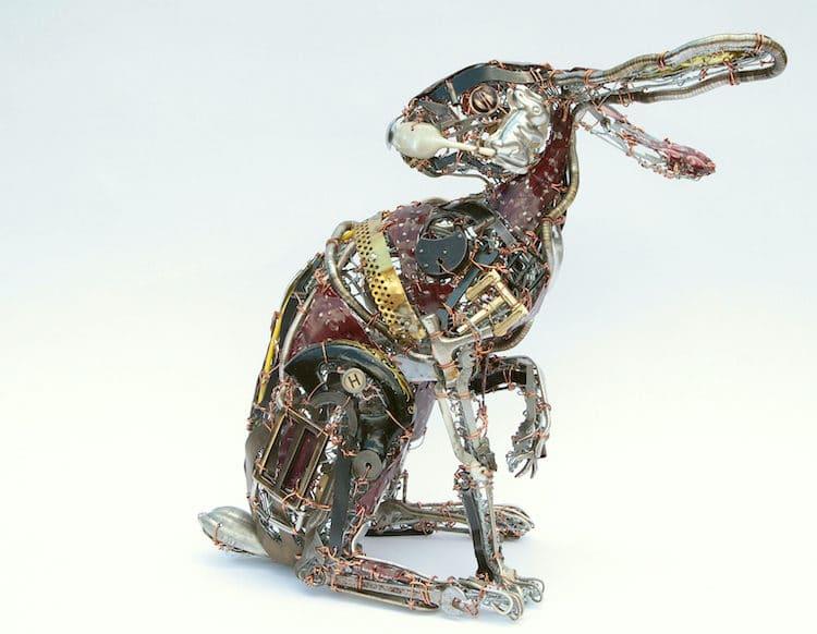 Metal Rabbit Sculptures by Barbara Franc