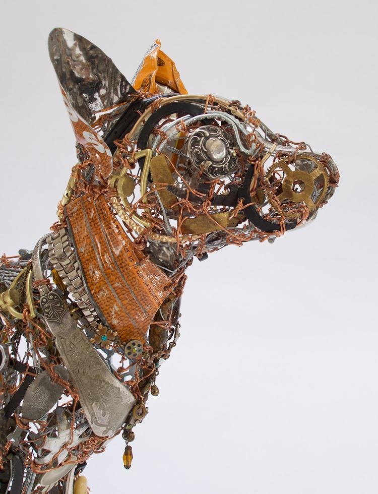 Metal Cat Sculptures by Barbara Franc