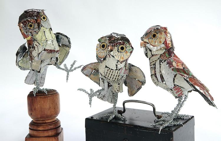 Metal Owl Sculptures by Barbara Franc